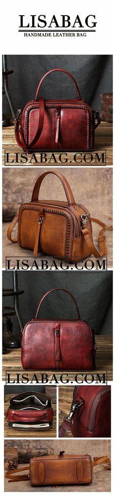 9d26f32c35989 Handmade Vintage Vegetable Tanned Leather Handbag Messenger Bag Shoulder Bag  in Gray YS03 - Gray