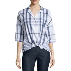 Lafayette 148 New York Analeigh Plaid Bracelet-Sleeve Blouse (22.840 RUB) ❤ liked on Polyvore featuring tops, blouses, denim blue multi, button front blouse, tie blouse, tartan blouse, tartan top and blue blouse