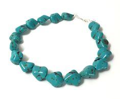 Maximalism Chunky Totally Turquoise Blue Stone Choker Collar Necklace, Wedding Gift for Daughter, Magnesite Stone Nuggets Sterling Necklace Turquoise Gemstone, Turquoise Jewelry, Turquoise Bracelet, Bridal Jewelry, Gemstone Jewelry, Selling Jewelry, Sterling Silver Necklaces, Silver Jewelry, Collar Necklace