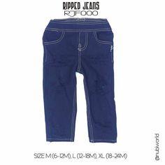 RIPPED JEANS Rp.125.000  Material washed denim  SIZE M ( 6-12 month ) Lebar pinggang 17cm Panjang celana 43cm L ( 12-18 month ) Lebar pinggang 19cm Panjang celana 45cm XL ( 18-24 month ) Lebar pinggang 21cm Panjang celana 47cm  WEIGHT / BERAT @160g 1 Kg = 6 pcs  Untuk pemesanan dapat menghubungi:  Line: himeka.id  Happy shopping  #bajubayimurah#babyclothes #setelanbajubayi #bajubayibranded #babytshirt #babyolshop #dresslucu #pakaiananak #bajuibudananak #jegginganak #bajuanakbranded #kaosbayi…