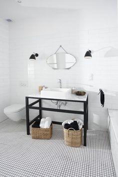 salle de bain en noie et balnc