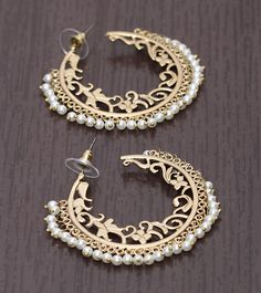Gold & White Embellished Earrings