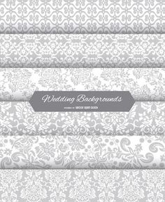 This set of 6 floral backgrounds features different floral and swirls backgrounds in silver grey colour. Specially cool for wedding designs, or other greeting cards. Check also the other set Gold Wedding  Backgrounds.High quality JPG included. Under Commons 4.0. Attribution License.