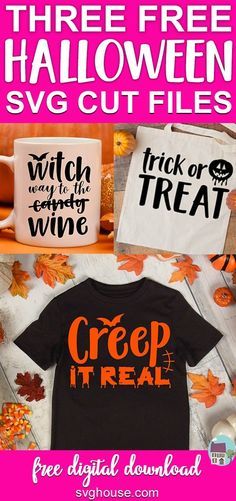 These three Halloween SVG FREE files will have you ready for Trick or Treating in no time! Perfect For Cricut Cutting Machines. #freesvg #svg #svgcutfile #cricut #cutfiles #craft #crafts #craftideas #crafts #handmade #homemadegifts #heattransfervinyl #vinylprojects #cricutprojects #halloween #halloweendecorations #halloweendecor #haunted #halloweencrafts #witch #witches #bats