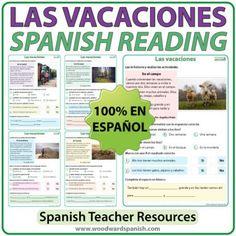 Spanish Reading Passages about Vacations / Holidays. Lecturas en español acerca de las vacaciones.