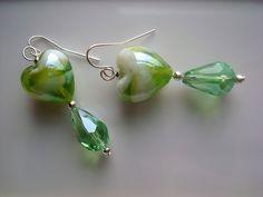 Murano Green Hearts SOLD Pearl Earrings, Drop Earrings, Handmade Design, Wearable Art, Stones, Hearts, Green, Jewelry, Pearl Studs