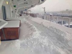 Queen Mary 2 Delayed in New York Due to Snow.