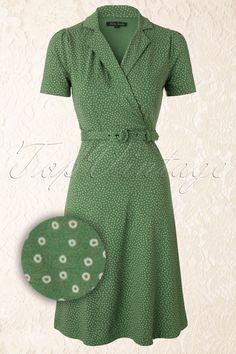 King Louie - 40s Polo Cross Glimmer Dress in Green