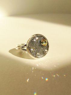 Silver Glitter Ring, Sparkling Silver Rhinestone Ring, Resin Glitter Ring, Resin and Rhinestone Ring, Statement Sparkling Ring, Resin Jewelr