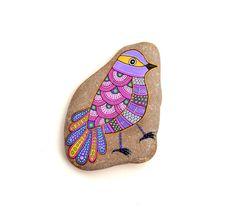 Pierre oiseau de peint à la main par ISassiDellAdriatico sur Etsy
