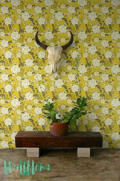 gardens roses Wallpaper with vintage garden rose pattern, Yellow Removable Wallpaper, Vintage Wall Decal, Garden Rose Self Adhesive Wallpaper, 188 Vintage Garden Rose Pattern Wallpaper Yellow by WallfloraShop View Wallpaper, Wallpaper Size, Wallpaper Panels, Wallpaper Samples, Self Adhesive Wallpaper, Colorful Wallpaper, Peel And Stick Wallpaper, Pattern Wallpaper, Bathroom Wallpaper