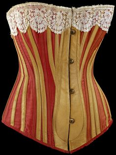 1883 Red serge & leather cuirass-style spon-busk corset. Shapes bust, waist, hips & abdomen.  V & A Museum.