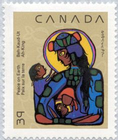 Canada Stamp 1990 - Norval Morrisseau Christmas originally painted in 1973 depicting the Virgin Mary with the Christ child and St. John the Baptist Native American Artists, Canadian Artists, Daphne Odjig, Canada Christmas, Native Canadian, Commemorative Stamps, Love Stamps, John The Baptist, Blessed Mother