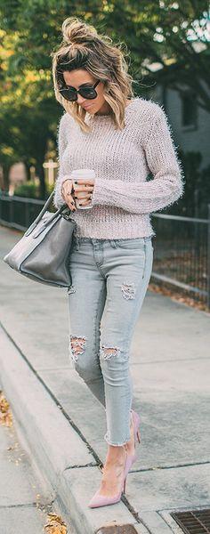 Chunky knit + distressed denim.