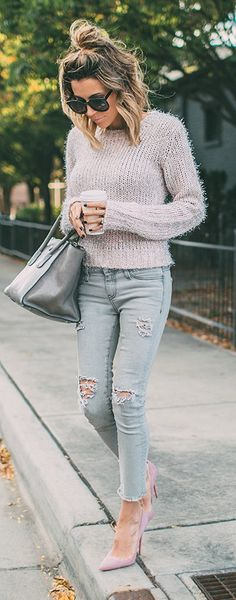 Chunky knit + distressed denim.