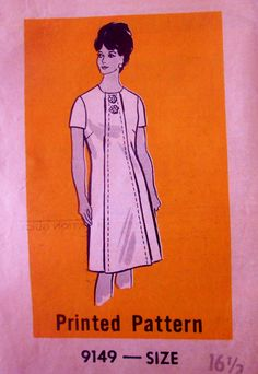 Mail Order 9149 Women's 60s Panel Front Contrast Dress Sewing Pattern Bust 37
