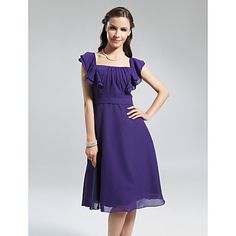 A-line Square Knee-length Chiffon Bridesmaid Dress – USD $ 67.99 I like the style, length, and get in color Pool, however, it wouldn't cover garments for the sleeves, and possibly the back, and there wouldn't be extra fabric for any alterations, SO you could have an under shirt