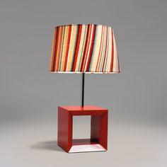 Abajur Vis Iluminação Buxum Listra Clara 50cm x 30cm Vermelho