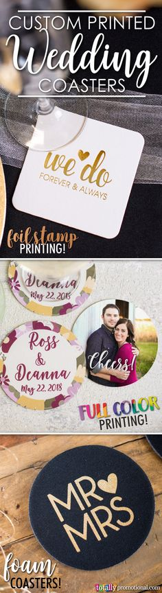 Customize wedding coasters with a 1-color imprint or full-color image or photo for the perfect touch to your wedding! Choose from our budget friendly coasters in pulp board or foam material options with hundreds of artwork design options that use our state-of-the-art Design Ideas tool to showcase your name, wedding date or message! Use coupon code PINNER10 and receive 10% off your coaster order! Sale applies to piece price only, not valid with other coupon codes and expires April 4, 2017!