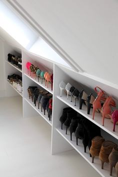 Beyond words Attic storage flooring thickness,Attic bathroom mirror and Attic bedroom storage ideas. Attic House, Attic Closet, Attic Office, Attic Playroom, Shoe Closet, Attic Wardrobe, Garage Attic, Shoe Storage In Wardrobe, Office Nook