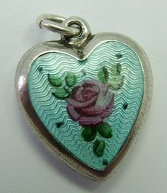 1960s American sterling silver and guilloche enamel puffed heart charm with pink rose decoration - 58 gbp