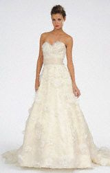 Priscilla of Boston, Melissa Sweet, Style Luciene. Silk Organza A-Line wedding gown with all-over floral and pearl appliqués. Available in Ivory. $4975.00