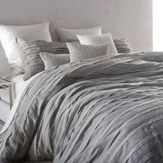 "King comforter set includes: 110"" W x 96"" L comforter Two 20"" W x 36"" L king pillow shams DKNY Loft Stripe Comforter Set in Grey - BedBathandBeyond.com"