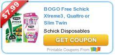 BOGO Free Schick Xtreme3, Quattro or Slim Twin