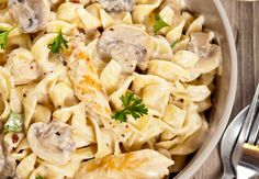 One Pot Creamy Chicken and Mushroom Pasta that comes together in less than thirty minutes. This healthier pasta dish has half the calories of a restaurant version, is easy to make, and it has so much flavor. Creamy Chicken Mushroom Pasta, Chicken Pasta, Chicken Casserole, Pasta Recipes Mushroom, Casserole Recipes, Spinach Casserole, Mushroom Casserole, Diced Chicken, Creamy Mushrooms