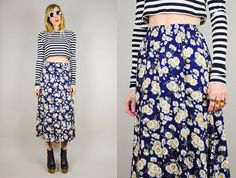 Floral print HIGH Waist maxi Skirt Ditzy revival Grunge Midi garden floral classic small on Etsy, $65.00 Black and white crop shirt and booties. Loooove.