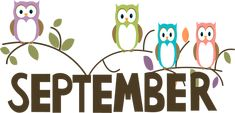 Free Month Clip Art | September Owls Clip Art Image - the word September in brown with ...