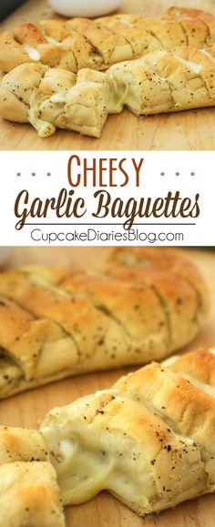 Garlic Baguettes Toasted garlic bread stuffed full of ooey gooey cheese. The perfect appetizer or side!Toasted garlic bread stuffed full of ooey gooey cheese. The perfect appetizer or side! I Love Food, Good Food, Yummy Food, Tasty, Garlic Bread Baguette, Pan Relleno, Cocina Natural, Snacks Für Party, Fast Recipes
