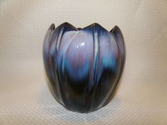 1 of 12: Vintage Brown Drip Pottery Vase w/ Blue & Purple by Canadian Ceramic Crafts CCC