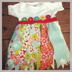 Baby Girl Fabric Rag Dress with Crochet Flowers Red by mymamasaid, $38.00