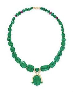 A RUSSIAN EMERALD BEAD, DIAMOND AND RUBY NECKLACE Suspending an oval-shaped emerald bead with circular and single-cut diamond detail, joined by a rose-cut diamond link, to the graduated emerald bead neckchain with four ruby bead spacers, with a circular-cut diamond clasp, mounted in gold.