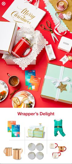 Here's an easy way to turn any get-together into gift-wrap together. First, get your gifts out of the secret hiding spot. Next, grab a few cute gift boxes, ribbon and tags from the Sugar Paper for Target Collection, holiday themed plates and mugs, and even a few iTunes gift cards. Invite a few friends over for a BYO-gift-wrapping party. Then, raise a glass of eggnog and give a big holiday cheers, cuz you've turned your wrapping chores into a party, complete with Christmas song sing-along.