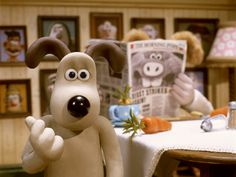 """Wallace (Peter Sallis) to Gromit: """"Burrowing bounders! They must be breeding like."""" -- from Wallace & Gromit in The Curse of the Were-Rabbit directed by Steve Box and Nick Park Jeremiah Johnson, Beau Film, Matt Damon, Peter Sallis, Clay Animation, Animation Movies, Dreamworks Animation, Tv Theme Songs, Rabbit Photos"""