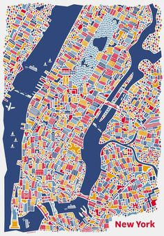 New York City Map Poster by Nina Simone Wilsmann from Vienna, Austria who works with Corporate Design, Grafik Design, Web Design und Illustration. Links to Vienna Map in same collection. New York City Map, City Maps, New York Poster, Brooklyn Bridge, City Map Poster, Ny Map, Map Posters, Map Quilt, Geography