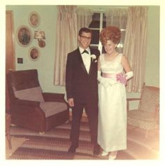 Prom Night, 1960s .. Oh my gosh...the dress, the hair...the room...and he looks great!