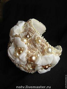 Купить Шелковый браслет - браслет, жемчуг, шелк, украшение, вадьба, свадебное украшение, свадебные аксессуары