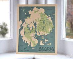 Acadia National Park Map 8x10 print © Alan Claude