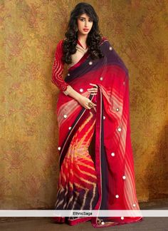 desirable-red-georgette-zig-zag-print-saree