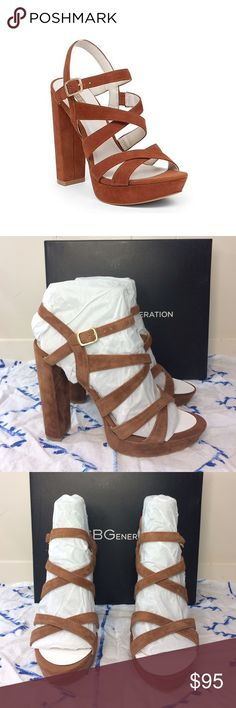 """NWT🔥 BCBGeneration """"Morgan"""" Dress Sandals ✨New in the box!✨ • BCBGeneration """"Morgan"""" dress sandals. • In the color """"Caramel"""" • Leather upper/Man made lining/sole. • Has a 5 1/4"""" heel and 1"""" platform. • Size 10. • {If you have any questions please ask before buying.} •Colors may vary slightly from pictures• BCBGeneration Shoes Heels"""