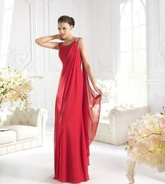 A-line floor-length beaded elegant chiffon long dresses for bridesmaid, 2016 bridesmaid dresses Mob Dresses, Dresses 2013, Bridal Dresses, Nice Dresses, Bridesmaid Dresses, Chiffon Dress Long, Red Chiffon, Special Occasion Outfits, Cheap Wedding Dress