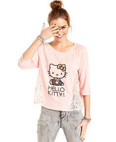a87937257 Hello Kitty Juniors Top, Three-Quarter Sleeve Printed Lace Juniors - Tops -  Macy's