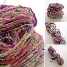 Auto-wrapped single ply art yarn for knitting, crochet or weaving. Handspun on my Ashford Kiwi spinning wheel.