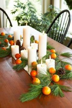 Easy Thanksgiving Centerpieces Top your Thanksgiving table with an easy-to-make centerpiece and other simple decorations. Natural Christmas, Simple Christmas, Winter Christmas, Christmas Holidays, Christmas Crafts, Christmas Decorations, Christmas Crunch, Holiday Decorating, Decorating Ideas