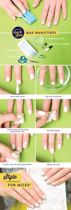 Map nail art transfers tutorial. FYI...its way better to put the map piece in the alcohol then press it onto the finger.