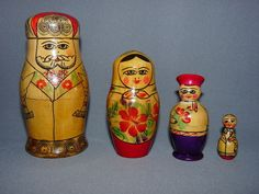 Russia Wood Nesting Doll USSR Hand Painted 4 Sections Vintage | eBay