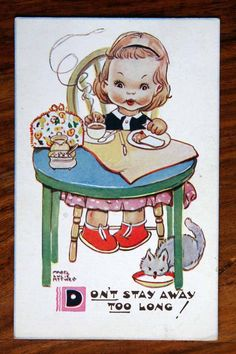 Vintage Postcard Mabel Lucie Attwell Don'T Stay Away Too Long Girl Eat Tea Cat   eBay